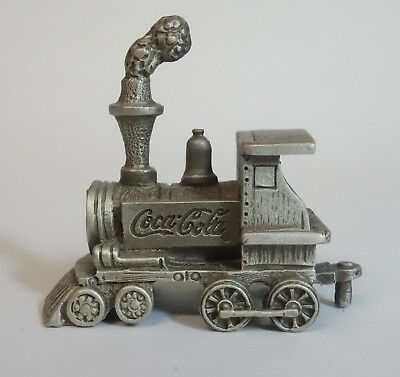 Vintage Coca Cola Train Engine Pewter Coke Locomotive Miniature Metal Figurine