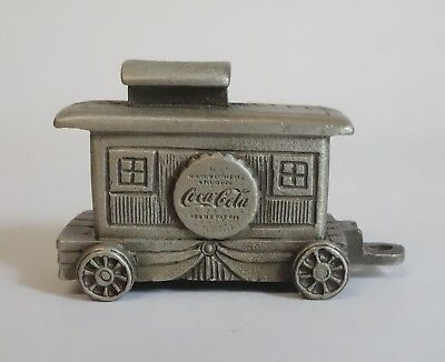 Vintage Coca Cola Train Caboose Locomotive Metal Pewter Miniature Figurine Coke