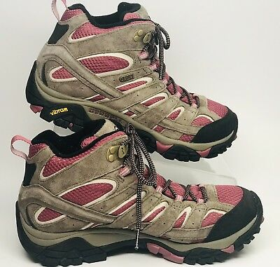 "999325be57 Merrell Moab 2 Mid Waterproof Hiking Boot 9 M Women's in Boulder/Blush ""MINT"