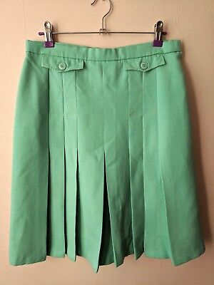 70s vintage pleated mint green skirt 12 casual secretarial knee length