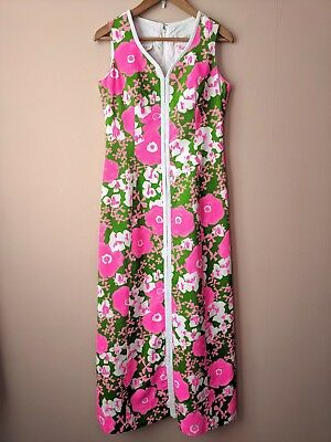 60s vintage bright pink & green floral maxi dress 12 12-14 flower power groovy