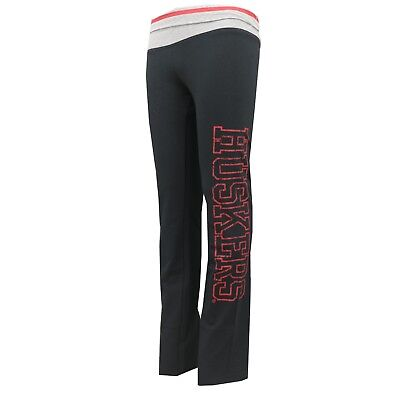 Nebraska Cornhuskers NCAA Adidas Youth Girls Size Yoga Roll Style Sweatpants New