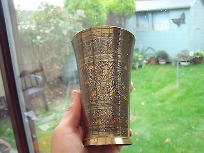 India Brass Beaker engraved with Leaf & Flowers.