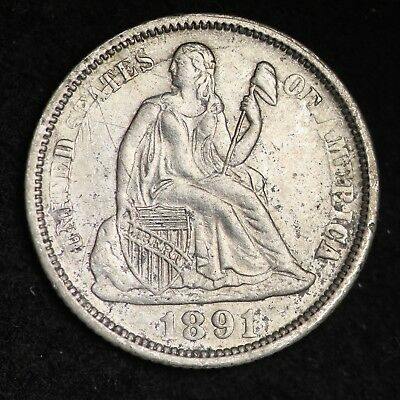 1891-O DIE CRACK Seated Liberty Dime CHOICE AU+/UNC FREE SHIPPING E322 RMT