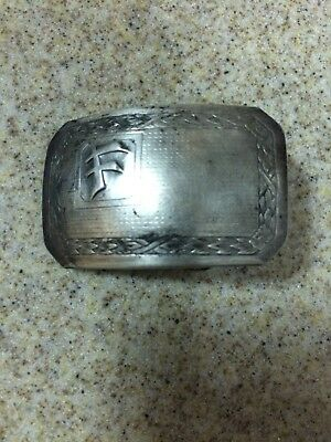 """Vintage Estate Hickok Silver Plate Belt Buckle with Initial """"F"""" For Fritiofson"""