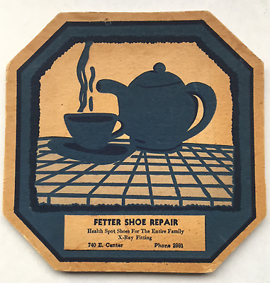 1950 Fetter Shoe Repair Advertising Coaster/Small Sign