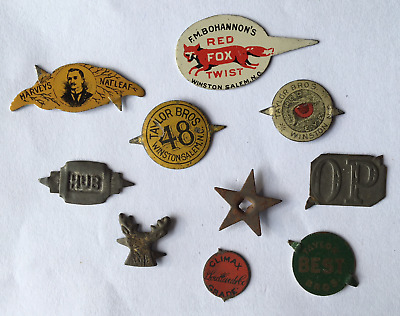 Lot of Ten (10) Antique to Vintage Chewing Tobacco Tags