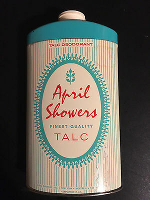 1950's Vintage & Rare April Showers Finest Quality Talc Tin -  New York, N.Y.
