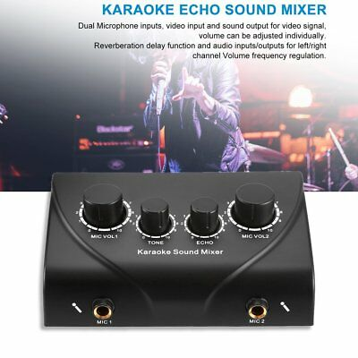 Karaoke Sound Echo Mixer +Cable N-1 for KTV TV PC Amp Amplifier Silver+Free JH