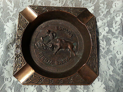 Vintage Fiesta Brava Espana Spain Bull Matador Ashtray Coscolin Brass
