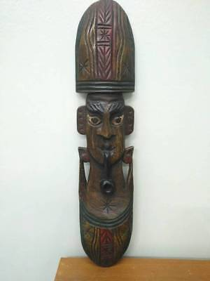 Wooden Mask  Hand Carved Statue Vtg Wall Hanging Face Home Decor Sculpture #11