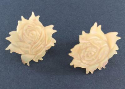 Vintage Mother of Pearl Carved Rose Screw Back Earrings