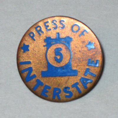 Vintage PRESS of INTERSTATE 5 Lapel Pin! Screw Post Back! (Robert Stoll Inc. NY)