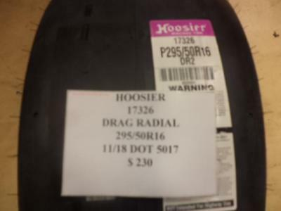 1 New Hoosier Drag Radial 295 50 16 Drag Racing Tire W Label 17326 Q8