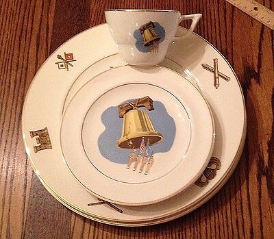 7 Pieces AMERICAN CERAMIC INDUSTRIES LIBERTY BELL MILITARY  PLATES and CUP