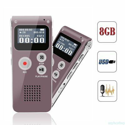 8GB Digital MP3 Player Audio Voice Recorder Rechargeable Dictaphone LOTXZ