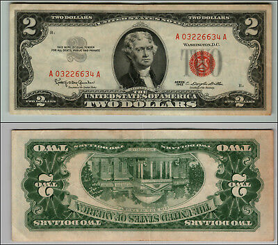 1963 $2 Dollar  Us Note Legal Tender Paper Money Currency Red Seal J912