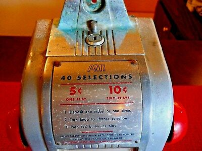 Ami 1950's 40 Selection Coin Operated Table Top Juke-Box Music Selector...