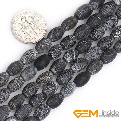 """Natural Black Agate Gemstone Frosted Matte Rice Beads For Jewelry Making 15"""" YB"""