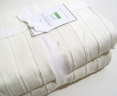 d90aef2f8e83 Pottery Barn Ivory Frayed Edge Camille Cotton Full Queen Duvet Cover New