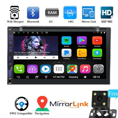 7inch Android DVD Car Bluetooth Stereo Radio Double 2 DIN Player GPS Navi CAMERA