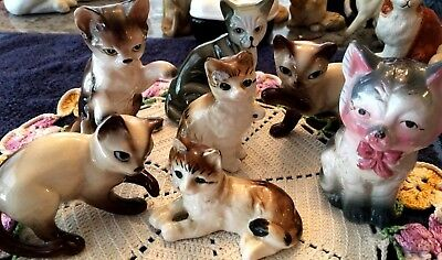 1950s RETRO 7 CERAMIC PORCELAIN CATS & KITTENS MADE IN JAPAN & TAIWAN ROC