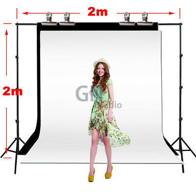 Photo Studio Background Support Stand White Black Backdrops Carry Bag 4 Clamp