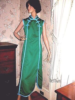 LOVELY VINTAGE 1970s LINED ASIAN GREEN/BLUE MAXI DRESS-B.ALTMAN & CO-HONG KONG