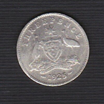 Australia -  1925  3d Threepence  KGV - LOW MINTAGE: only 4,347  (92.5% Silver)