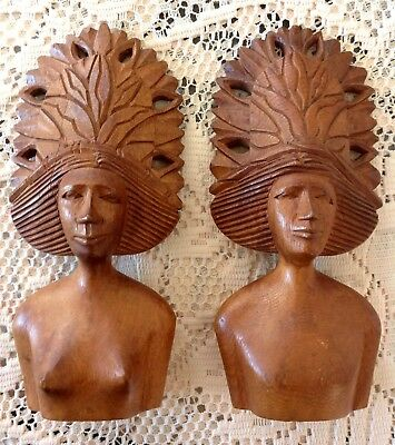 Vintage 1960s Carved Wooden AFRICAN MAN &  LADY Hand Carved Wall Busts