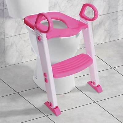 Safety Potty Baby Toddler Training Toilet Seat Ladder Loo Trainer System Pink