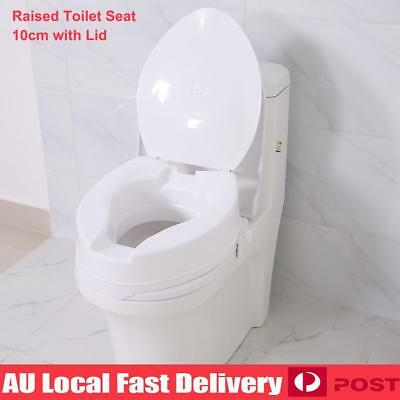 """10cm 4"""" Height Raised Toilet Seat Elevated Adjustable Detachable With Lid White"""