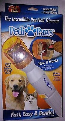 Pedi Paws Pet NAIL TRIMMER As Seen On TV Cordless Battery Powered Dog Cat NEW