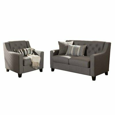 2 Piece Upholstered Sofa Set with Loveseat and Accent Chair in Gray