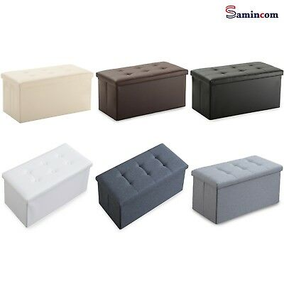 Folding Storage Ottoman Bench Living Room Home Decor Faux Leather Foot Stool