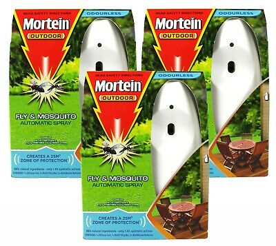 3 x MORTEIN 154g NATURGARD OUTDOOR FLY & MOSQUITOES CONTROL SYSTEM ODOURLESS