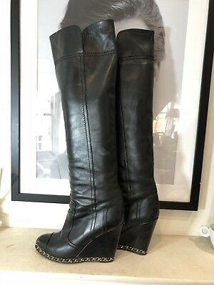Chanel Wedge Chain Link Trimmed Black Leather Boots