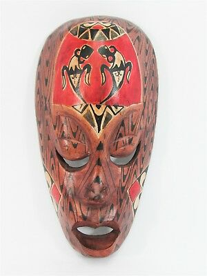 """Tribal Mask w/ Lizard 8"""" Wooden Hand Carved & Painted Bali Indonesia Wood Brown"""
