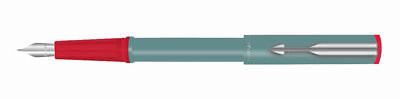 Parker Beta Standard Fountain Pen Chrome Trim Grey Blue ink Fine Nib - Best Pen