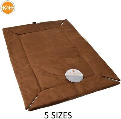 K & H Self - Warming Dog Pet Puppy Cage Crate Mat Mocha Brown Non Slip 5 Sizes