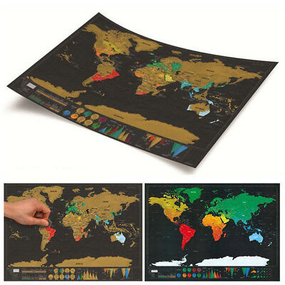 Deluxe Travel Edition Scratch Off World Black gold map Poster Journal G2V0N