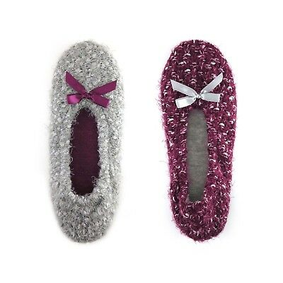 Wal Mart Brand Women's Ballerina Slippers 2 Pack Size X-Large 11-12 Wine & Gray