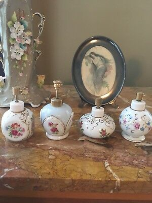 Lot Of 4 Vintage Hand Painted Irice Perfume Bottles Atomizers Pink & Blue Roses