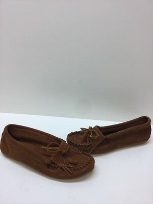 MINNETONKA Brown Suede Fringe Slip On Moccasin Flat Loafers Women's Size 7.5