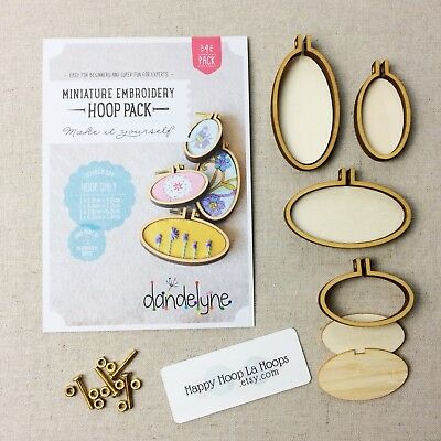 Dandelyne Hoops. Pack of 4 Assorted Oval Embroidery Hoops. Mini Embroidery Hoops