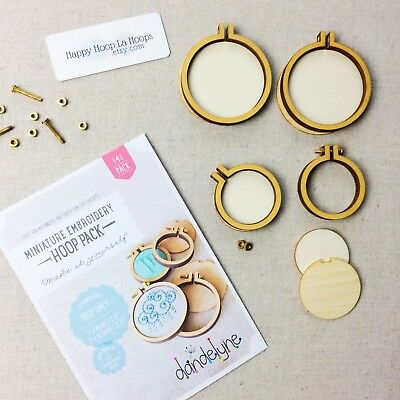 Dandelyne Hoops. Multi pack of 4 round hoops. Miniature Embroidery Hoops