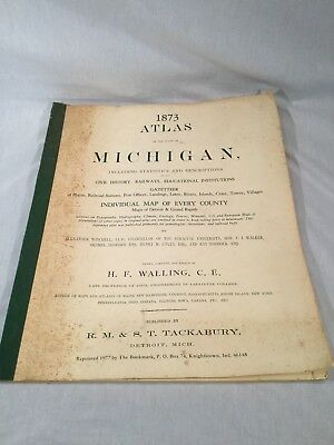 Atlas of the State of Michigan, 1873, Original, Walling Tackabury Reprinted 1977