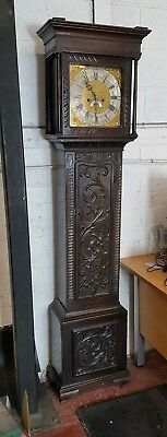 Antique Carved Oak Longcase Grandfather Clock kirkham Holly well