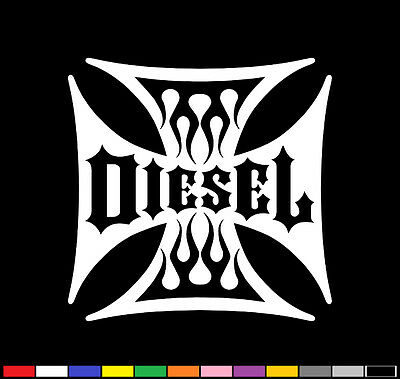 2 Flamed Diesel Decals Maltese Iron Cross Stickers Big Rig Truck Badges