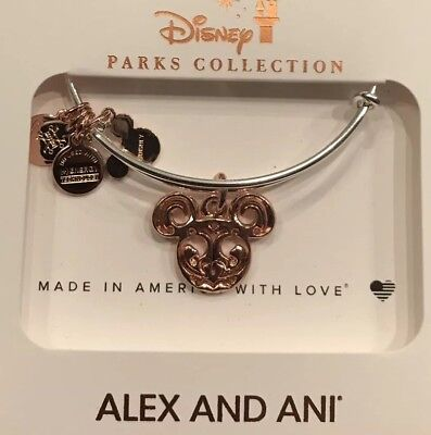 Disney Alex And Ani Rose Gold Ears Bangle With A Silver Bracelet New